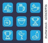 cup icon. set of 9 outline cup... | Shutterstock .eps vector #633630956