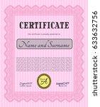 pink sample diploma. detailed.... | Shutterstock .eps vector #633632756