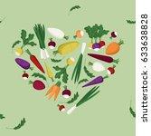 vegetable heart on light green  ... | Shutterstock .eps vector #633638828