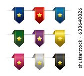 set of colored vertical ribbons ...