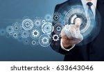 businessman touch screen... | Shutterstock . vector #633643046