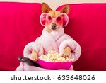 chihuahua dog watching tv or a... | Shutterstock . vector #633648026