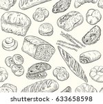 sketch seamless bakery pattern  ... | Shutterstock .eps vector #633658598