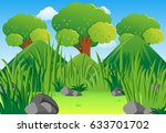 scene with mountains and field... | Shutterstock .eps vector #633701702