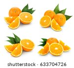 orange fruits collection with... | Shutterstock . vector #633704726