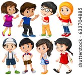 different characters of boys... | Shutterstock .eps vector #633704885