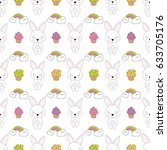 seamless baby pattern with cute ... | Shutterstock .eps vector #633705176