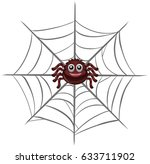 happy spider on the web... | Shutterstock .eps vector #633711902