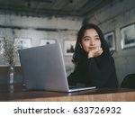 asian beautiful woman thinking... | Shutterstock . vector #633726932