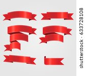 pack of red ribbons. perfect... | Shutterstock .eps vector #633728108