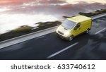 yellow delivery van on highway. ... | Shutterstock . vector #633740612