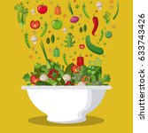 salad mixed vegetables diet... | Shutterstock .eps vector #633743426