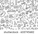 hand drawn seamless pattern... | Shutterstock .eps vector #633745682