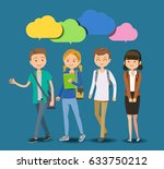 student's dream  talking and... | Shutterstock .eps vector #633750212