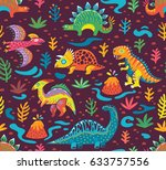 dinosaurs seamless pattern in... | Shutterstock .eps vector #633757556
