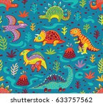 dinosaurs seamless pattern in... | Shutterstock .eps vector #633757562
