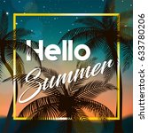 hello summer sign  with coconut ... | Shutterstock .eps vector #633780206