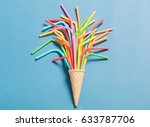 ice cream cone with colorful... | Shutterstock . vector #633787706