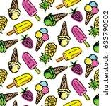 hand drawn doodle summer... | Shutterstock .eps vector #633790502