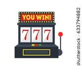 cartoon slot machine with one... | Shutterstock .eps vector #633794882