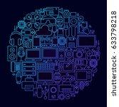 gadget line icon concept circle.... | Shutterstock .eps vector #633798218