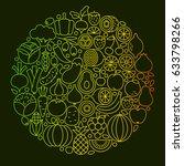 fruit vegetable line icons... | Shutterstock .eps vector #633798266