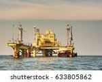 the offshore oil rig in the...   Shutterstock . vector #633805862