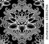 beautiful bohemian floral... | Shutterstock .eps vector #633812966