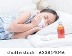 sick girl lying in bed and sore ... | Shutterstock . vector #633814046