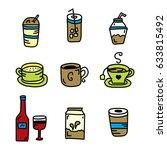 beverages doodle hand drawn set | Shutterstock . vector #633815492