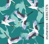 crane pattern  vector ... | Shutterstock .eps vector #633817376