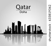 Stock photo qatar doha skyline with silhouette of the city modern architectural buildings 633819362