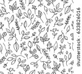 floral black and white pattern. ... | Shutterstock .eps vector #633826016