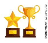 trophy cup and star award icon   Shutterstock .eps vector #633843212