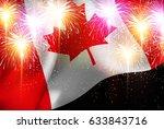 canada fireworks national flag... | Shutterstock .eps vector #633843716