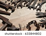a set of old and rusty tools... | Shutterstock . vector #633844802