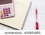 notebook record expense income... | Shutterstock . vector #633851882