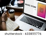 hands working on laptop network ... | Shutterstock . vector #633855776
