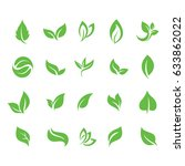 ecology green leaf simple icon... | Shutterstock .eps vector #633862022