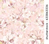 seamless pattern of graceful... | Shutterstock . vector #633863336