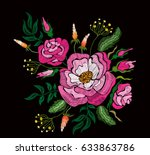 ethnic embroidery pink rose...   Shutterstock . vector #633863786