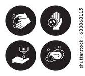 hands hygiene icons set | Shutterstock .eps vector #633868115