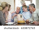 family celebrating grandfather... | Shutterstock . vector #633872765