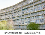 Small photo of Old council housing block, Robin Hood Gardens, in East London