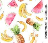 watercolor exotic fruit... | Shutterstock . vector #633888386