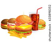 set of tasty burgers grilled... | Shutterstock .eps vector #633898352