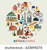 france travel icons. france... | Shutterstock .eps vector #633898376