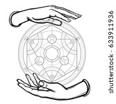 human hands hold alchemical... | Shutterstock .eps vector #633911936