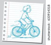 woman riding bike  | Shutterstock .eps vector #633914318