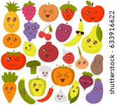 set of happy cute fruits and... | Shutterstock .eps vector #633916622
